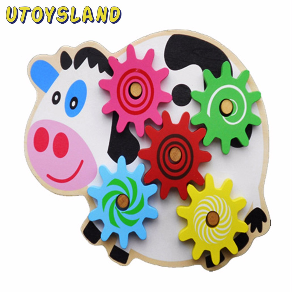 UTOYSLAND Wooden Toys Puzzle Kids Cow Colorful Gear Caterpillar Toy Educational Monterssori Toys Wood Intelligence Baby DIY Toy