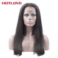HOTLOVE פאות שיער אנושי 360 תחרה מול לנשים שחורות קטף מראש צפיפות 150% רמי ברזילאי ישר עם תינוק שיער