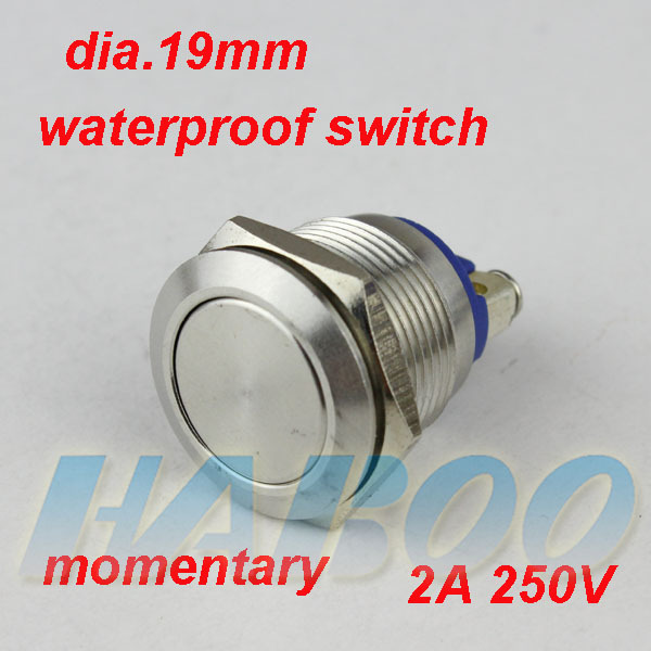 19mm HABOO screw type anti-vandal reset switch 1NO stainless steal push button IP67 shipping free