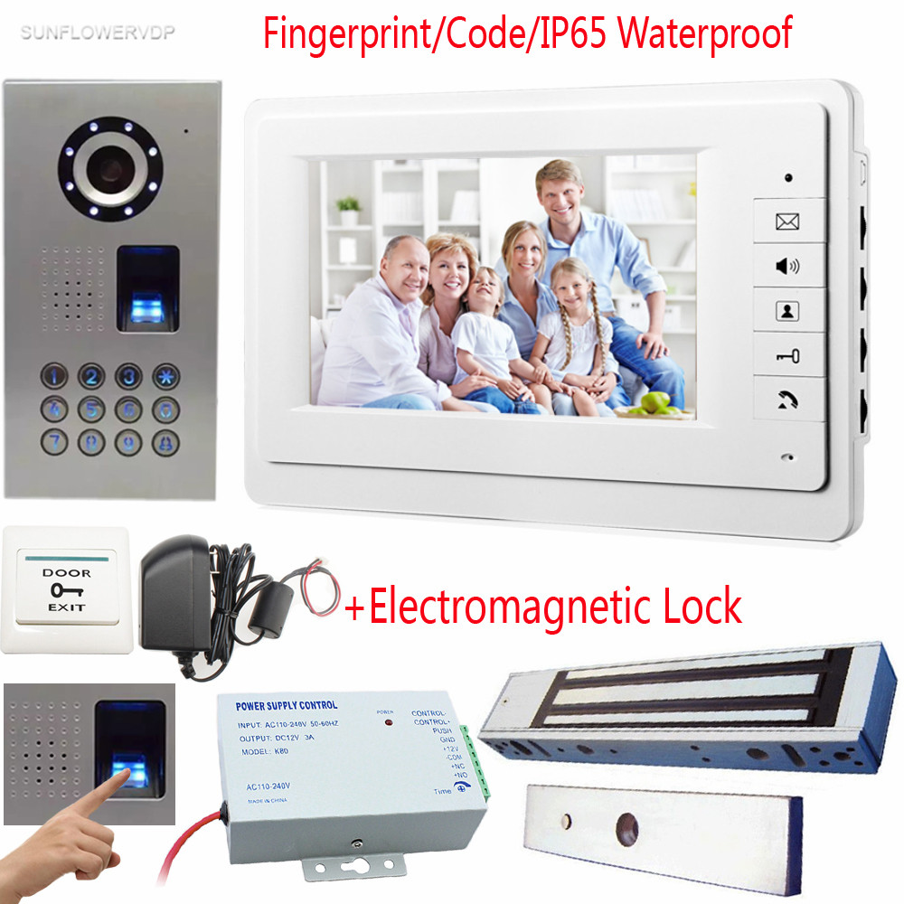 Fingerprint Home Video Door Phone IP65 Waterproof CCD Camera Video Intercom Phone 7Color Monitor With Magnetic Electronic Lock the latest wifi magnetic lock ip65 rainproof video door phone outdoor monitor intercom atz dbv04p doorbell with 720p ip camera