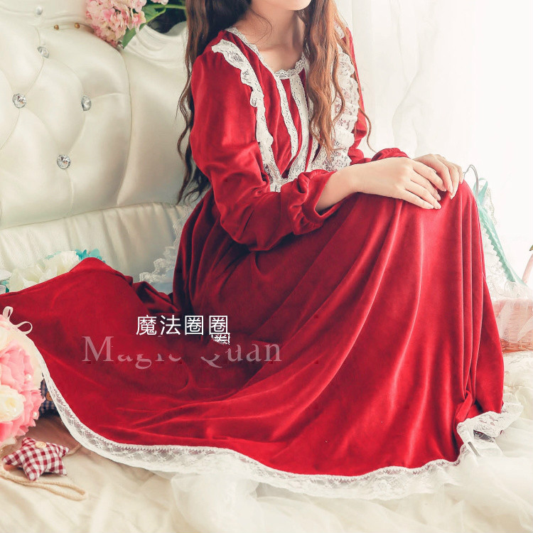 New Retro Princess Long Nightdress Female Lace Pijamas Coral Fleece Velvet Home Wear Winter   Nightgown   Womens Pyjamas   Sleepshirts