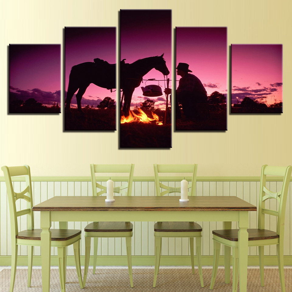 Canvas Painting Living Room Wall Art Framework 5 Pieces Sunset Dusk Knight Whit Horse Pictures HD Prints Flame Poster Home Decor