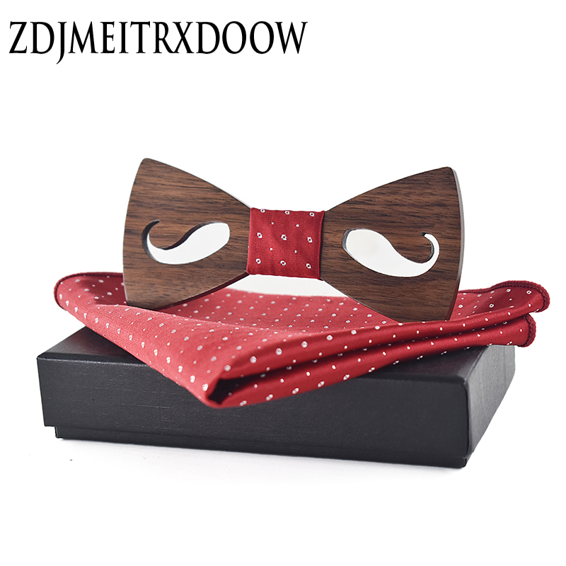 New 2018 Mens Bow Tie And Handkerchief Set Bowtie Fashion Cravatta Gemelli Men Ties Sets Cravatta Uomo Seta Lot Wooden Ties Set