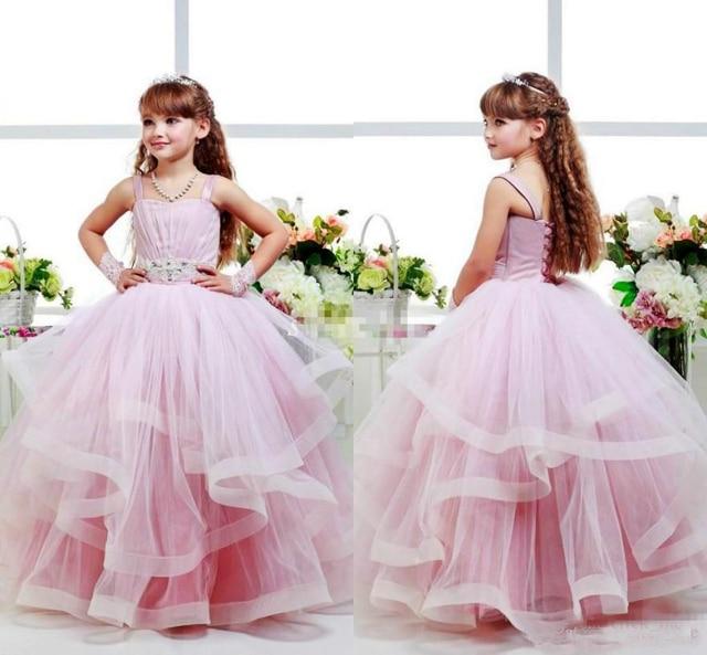 Aliexpress.com : Buy Pink Flower Girls Dresses Ball Gowns Spagheti ...