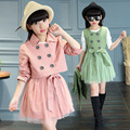 Girls Trench Coats and Dress Pin Dots Clothing Sets 2017 Teenage Girls Clothing Back to School Clothes 2pcs Girl Top Dress Sets