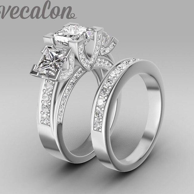 Vecalon Handmade fashion ring wedding band ring for women 6ct Cz diamond ring 925 Sterling Silver Female Engagement Finger ring