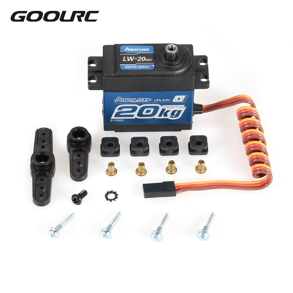 LW-20MG 20Kg Waterproof High Torque Digital Servo with Metal Gear for RC Car 1/10 1/8 Off-road Car Buggy Truck Part jx pdi 6221mg 20kg large torque digital standard servo for rc model