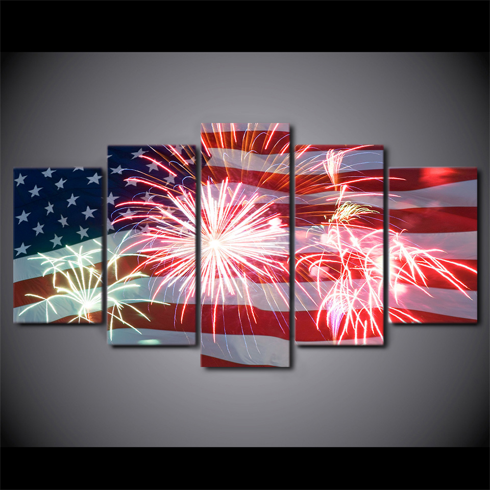 print 5pcs american flag fireworks painting on canvas art modern home decor abstract painting for living room wall decor pt1240 in painting calligraphy
