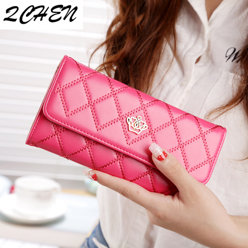 Womens Wallets And Purses Plaid PU Leather Long Wallet Hasp Phone Bag Money Coin Pocket Card Holder Female Wallets Purse 162