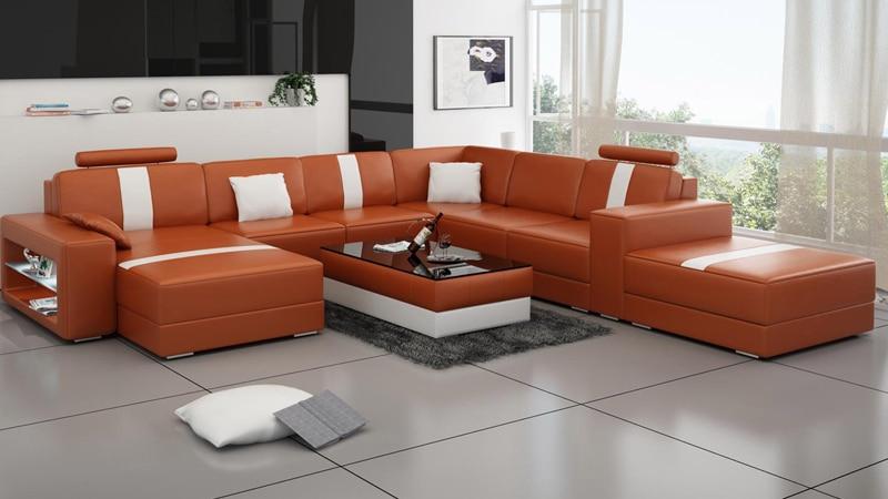 functional living room furniture sets | Functional Living Room Furniture Genuine Leather Sofa Set ...