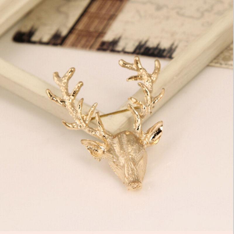 1x Unisex Animal Collar Brooch Pin Clip Cute Deer Antlers Head Pins Brooches new