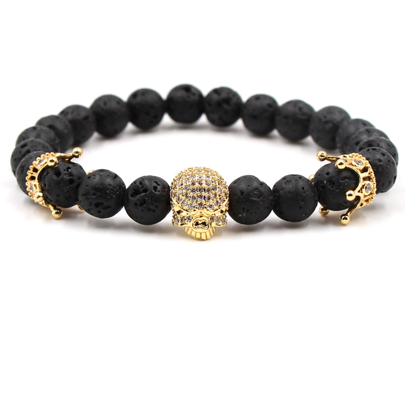 New Trendy Natural Stone Beads Strand Bracelet for Men Micro Pave CZ Skeleton Skull Energy Bracelets Men European Buddha Jewelry