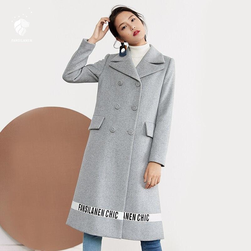 FANSILANEN 2017 New Arrival Fashion Autumn/Winter Elegant Casual Long Wool Cashmere Coat Woolen Women Female Overcoat Z73095