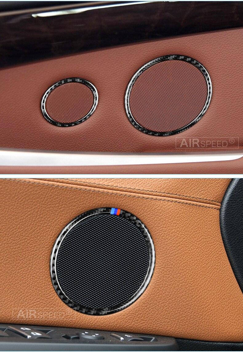 Airspeed for BMW F25 X3 X4 F26 X4 BMW F26 F07 Sticker for BMW X3 F25 Carbon Fiber Interior Trim Stickers Car Door Speaker Ring (8)