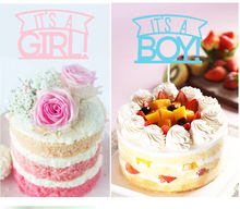 Kids Happy Birthday Cupcake Cake Toppers Cakes Flags Its A Girl & Boy  Baby Shower Festival Party Baking Decor