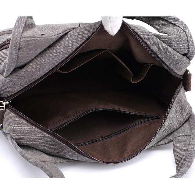 Women's Canvas Handbags Female Hobos Single Shoulder Bags Woman Crossbody Pack Solid Multi-pocket Ladies Totes 5