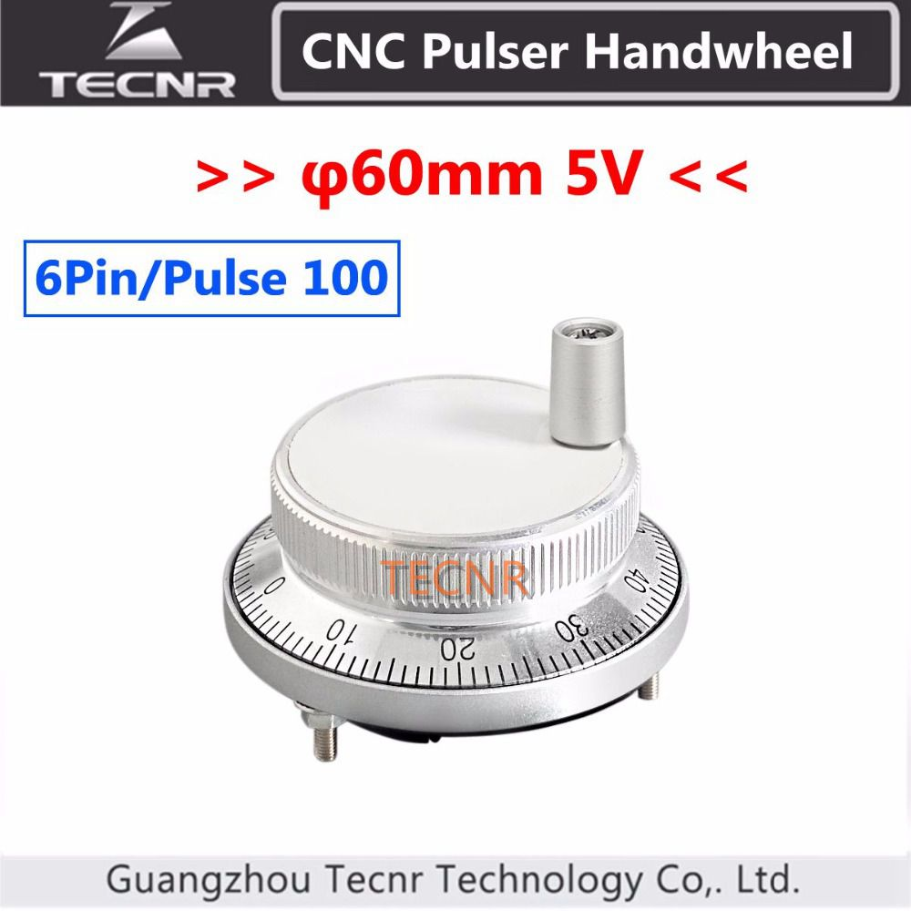 60mm cnc pulser electronic handwheel 5V 6pin pulse 100 Manual Pulse Generator CNC machine rotary encoder цены