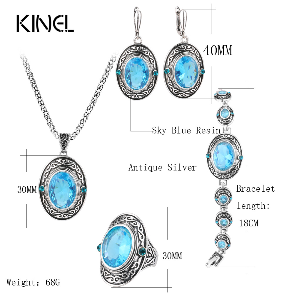 HTB19o hSpXXXXcVXVXXq6xXFXXX4 - Kinel 4Pcs Women Vintage Jewellery Sets Antique Silver Color Retro Pattern Fashion Blue Oval Ring Wedding Jewelry Crystal Gift