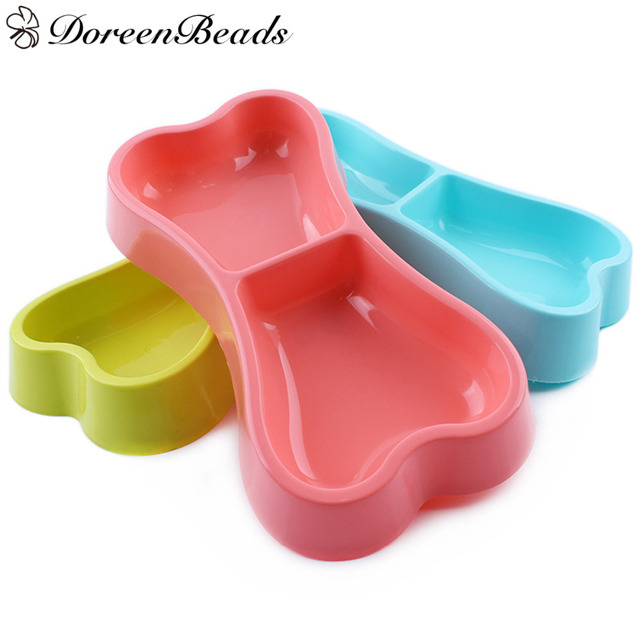 DoreenBeads Bone Shape Dogs Bowls Feeders Plastic Pet Cat Dog Puppy Food Snacks Water Bowl Cats Dogs Feeding Drinking Bowls 1 PC