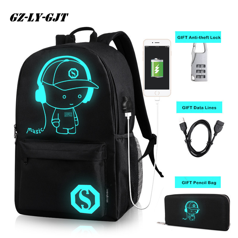GZ-LY-GJT Anime Student School Backpack Anime Luminous USB Charge Laptop Computer Backpack For Teenager Anti-theft Boys Bag new anime one piece skull monkey d luffy backpack bag anti theft school rucksack student book bag cosplay for 14 inch laptop