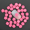 50Pcs/Lot 3D Charm Nail Art Jewelry 6mm Rose Red Resin Rose Flowers Decoration For Nail Studs DIY Glue Nail Art  Accessory PJ213
