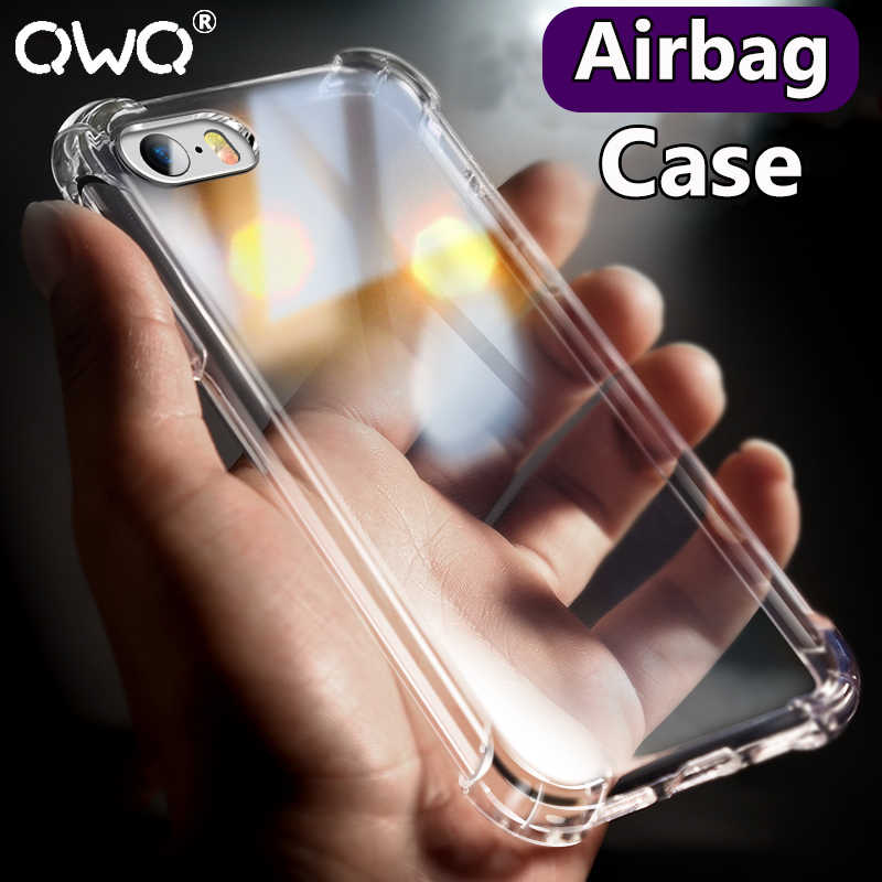 Cao cấp Mềm Dẻo Silicone Ốp Lưng Chống Sốc Cho iPhone 6 6 S 8 7 Plus 5 5S SE TPU Cover cho Iphone X XS Max XR Đen Bao Coque