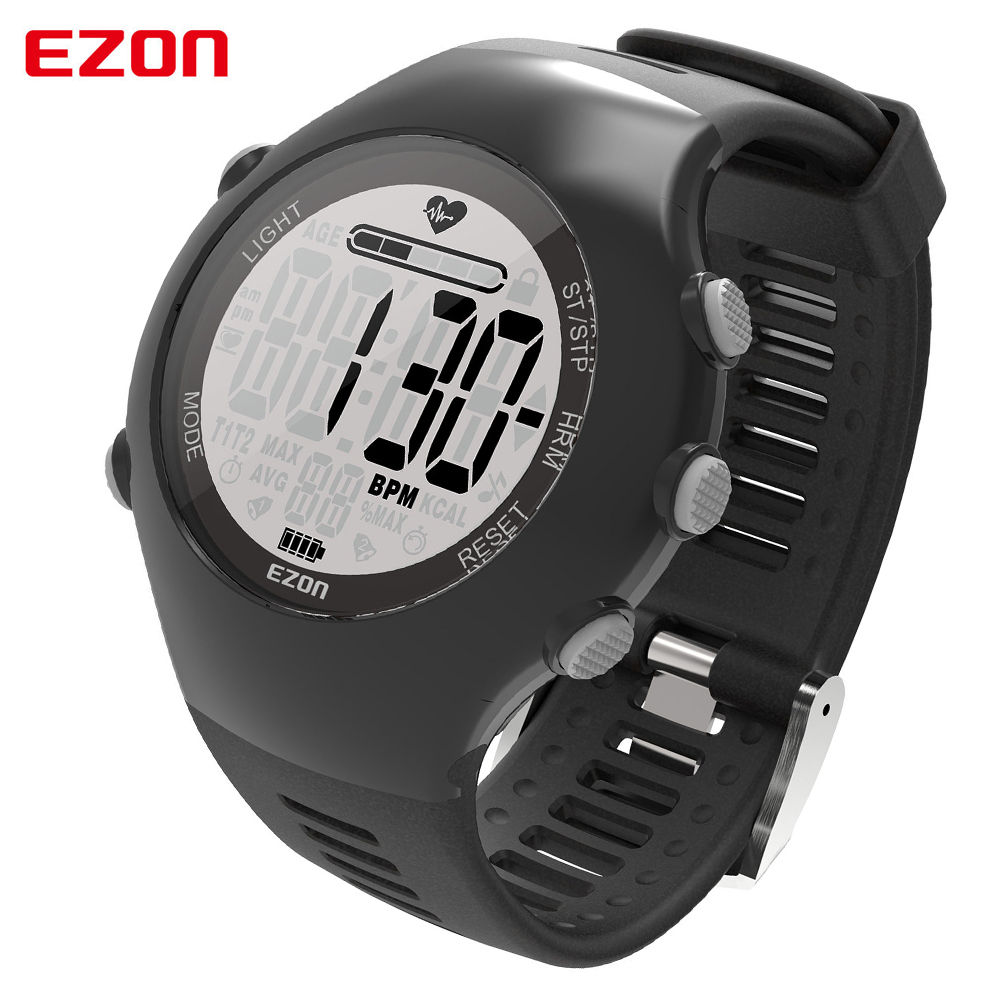 Heart Rate Monitor Digital Sport Watch For Men Women EZON Pedometer Alarm Waterproof 50m Powerd by PHILIPS Wearable Sensing T043 new ezon t043 optical sensor heart rate monitor pedometer calorie counter digital sport watch powerd by philips wearable sensing