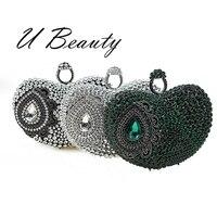U Beauty womens elegant heart shape evening clutch bag Full Crystal heart evening clutch bags handbags for ladies ubec0004 cl