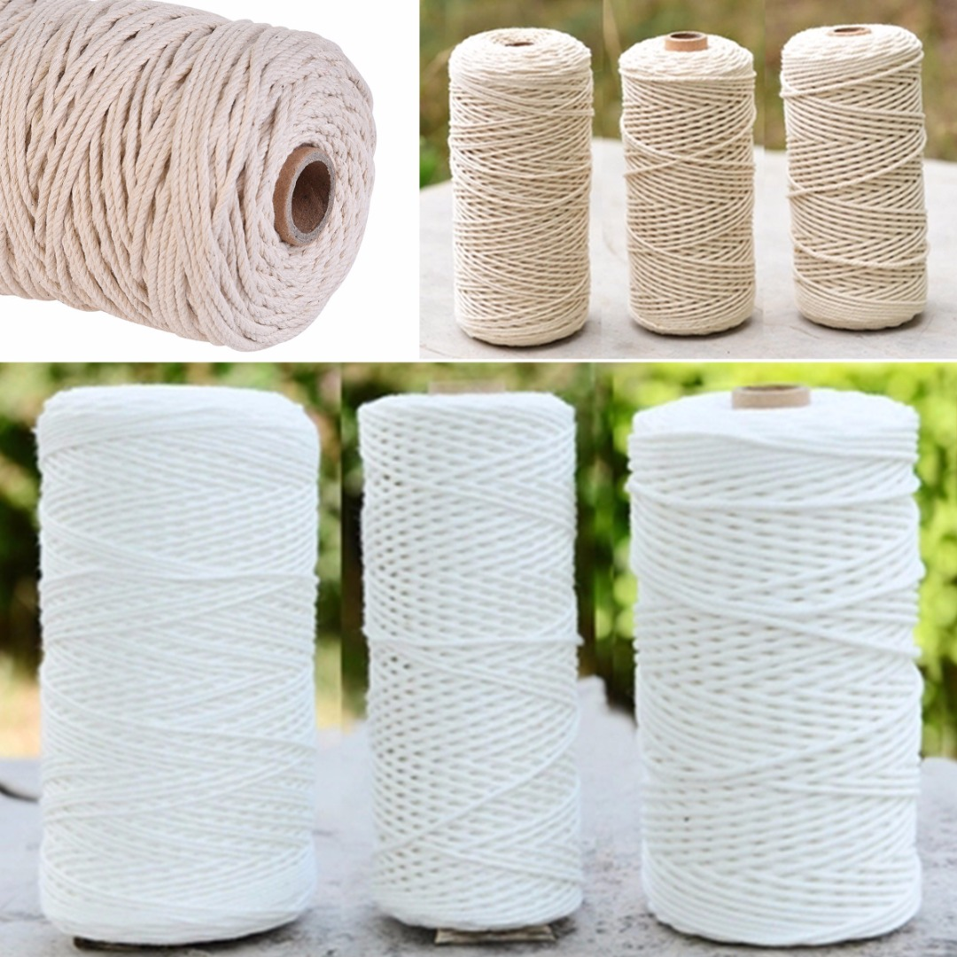 100% Natural Cotton Twisted Cord Craft Macrame Artisan String 1-3mm Diameter Beige/Cream For Scrapbooks Handmade Cards
