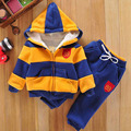 Winter Thicken Warm Boys Striped Hooded Sport Suit Kids Fleece Hoodies Jacket Coat+Pants Children Pullover Sweater Tracksuit