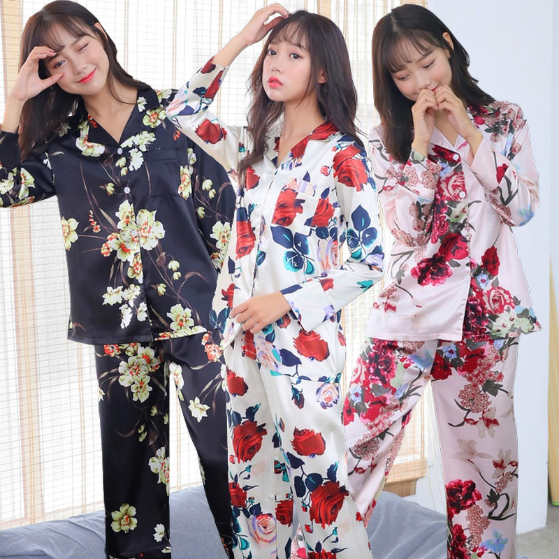 Women Nightwear 2019 Spring   Pajamas   Adult Silk Print Sweet Women Sleepwear   Set   Girl Nightgown Long Pant Cute Silk   Pajamas     Sets