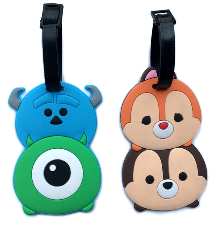 5 pcs Tsum Tsum lot Minnie Mickey Stitch America Iron Man Daisy Donald figures luggage tag PVC bag pendants free shipping