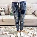 Parches Agujero Rasgado Vaqueros casuales Pantalones Rayados de Las Mujeres Más El Tamaño Delgado Elástico de La Cintura Lápiz Denim Jeans Azul 5XL HS222