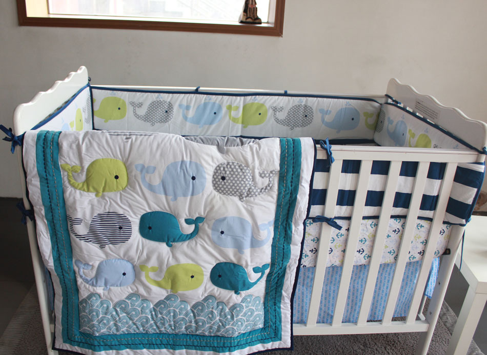 Ups Free 7 Piece Boy Baby Crib Bedding Set Bed Comforter Cot Quilt Sheet Per Included