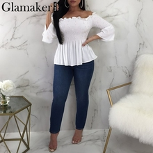 Glamaker White beading ruffle blouse shirt Women flare sleeve pearl peplum red blouse Sexy party top tee shirt female 2018 new