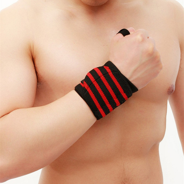 1 Pair WeightLifting Fitness Gloves Gear Weight Lifting Gym Equipment  Body Building Crossfit Wrist Support Wraps Brace L346 3