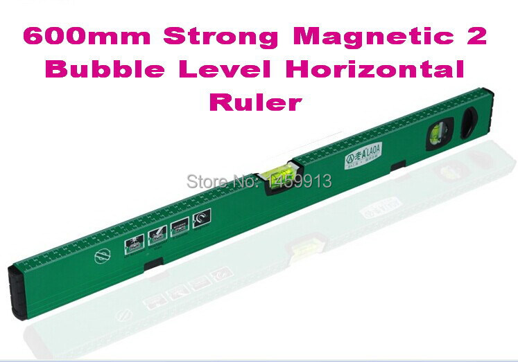 Free shipping High Precision 600mm length Aluminium Alloy Strong Magnetic 2 Bubble Level Horizontal Ruler/ Level Ruler free delivery level 24 in lightweight hard plastic 3 bubble triple ruler measure tool