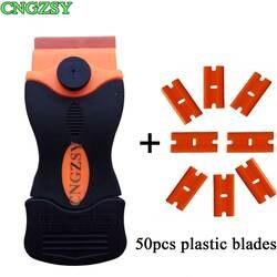 Пластик скретч-менее обоюдоострый бритвы скребок 50 шт. запасные лезвия для Стикеры клей для удаления винил очистки Multi Ракель e15 + 50 P