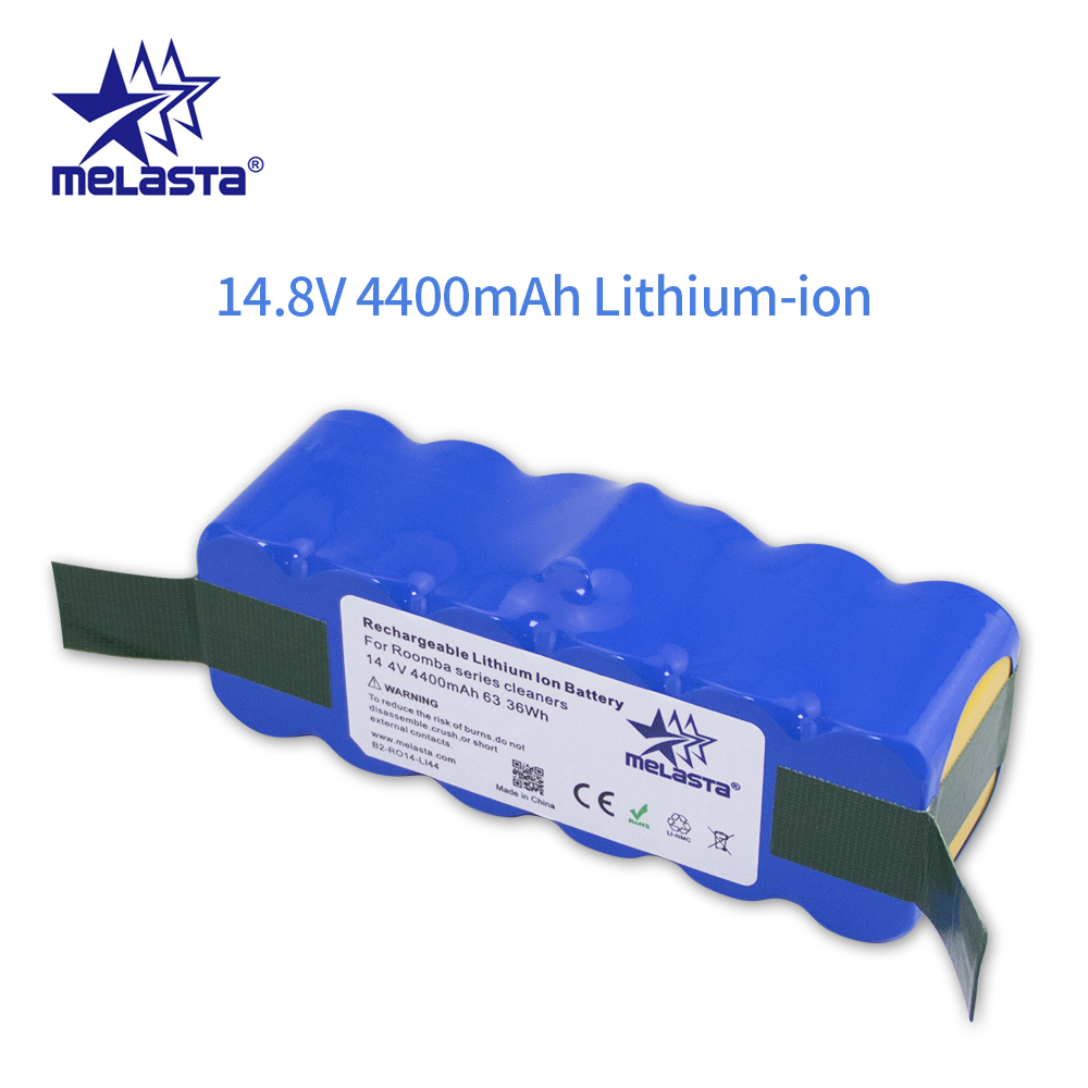 Melasta 14.8V 4.4Ah R3 Li ion Bateria para iRobot Roomba 500 600 700 800 Série 510 530 550 560 610 650 770 780 790 870 880 R3|Baterias recarregáveis|   -