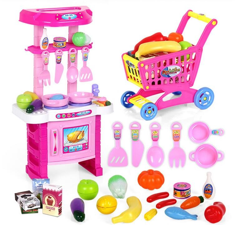 (26 Pieces/Sets) Kids Simulation Kitchen Toys With Light Sound Children Play Toys Buy Kitchen Toys Free send Shopping Cart Toys