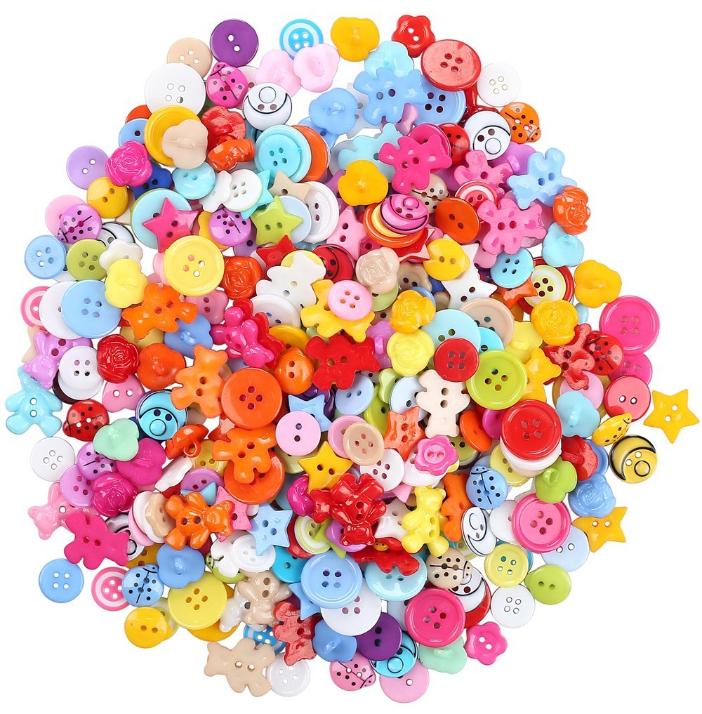 100pcs Mixed Small Plastic Buttons Lot for Sewing Fasteners Scrapbooking and DIY Handmade Craft with Different Color and Style button