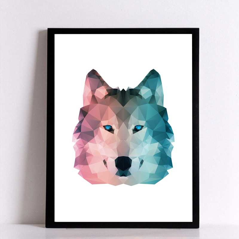 Geometric Wolf Canvas Art Print Wall Pictures , Abstract Polygon Animal Wolf Canvas Painting Poster Modern Home Decoration