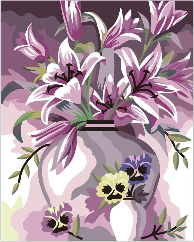 Безрамное 40X50 см картина маслом Diy Цифровая живопись по номерам украшения дома картины холст картины стены искусства Лилии цветок