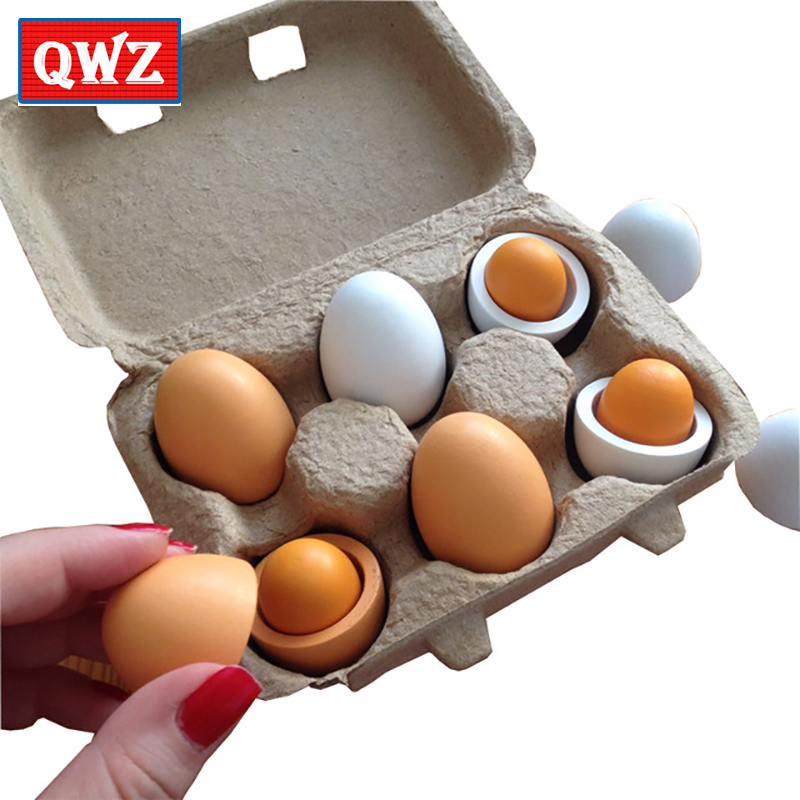 QWZ 6pcs/Set Wooden Kitchen Toys Set Food Eggs Yolk Gift Preschool Kindergarten Kids Toys for Girls Children Boys Pretend Play