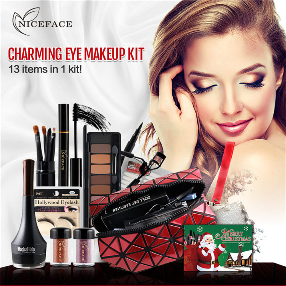 Christmas Eye Make Up Kits Gift Eyeshadow Pallete Mascara Makeup Brushes Eyebrow Pencil Liquid Eyeliner Makeup Set free shipping 3 pp eyeliner liquid empty pipe pointed thin liquid eyeliner colour makeup tools lfrosted purple