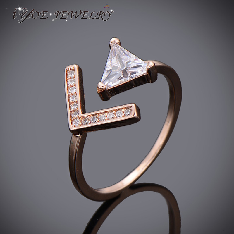 Us 3 35 46 Off Punk Letter V Triangle Design Zirconia Finger Rings Ladies Simple Style Rose Gold Color Fashion Opening Ring Jewelry In Rings From