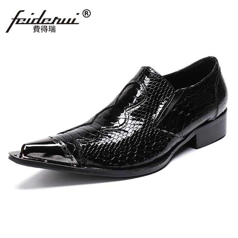 Boda Vestido Patente Zapatos Tamaño Formal Punta Cuero Lujo Hombre Del Sl223 Metal Más Mocasines De Los Alligator Toe Fiesta Negro Hombres Banquete qpH6BWYx