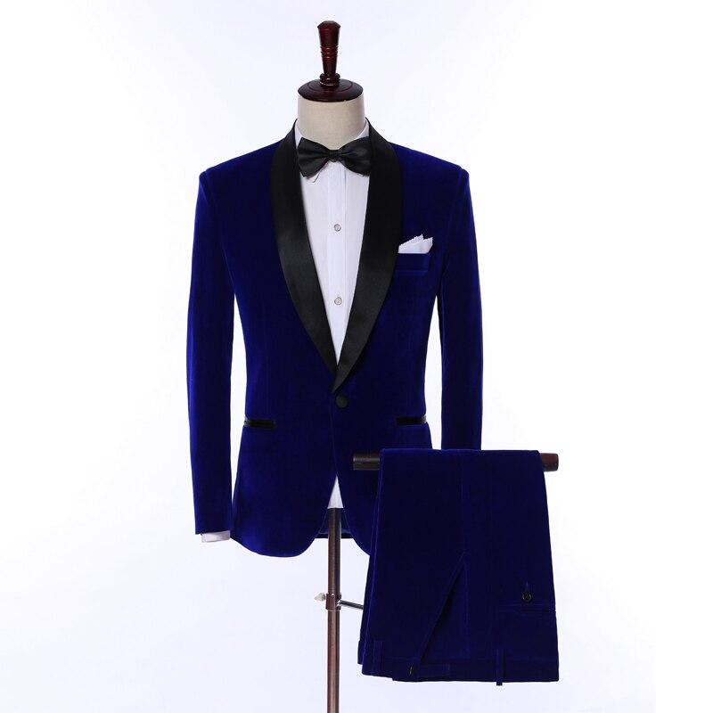 2019 Coat Pant Design Royal Blue Velvet Men Suits Custom Made Fashion Terno Slim Fit Groom Tuxedo Wedding Men Suits 2 Piece Set