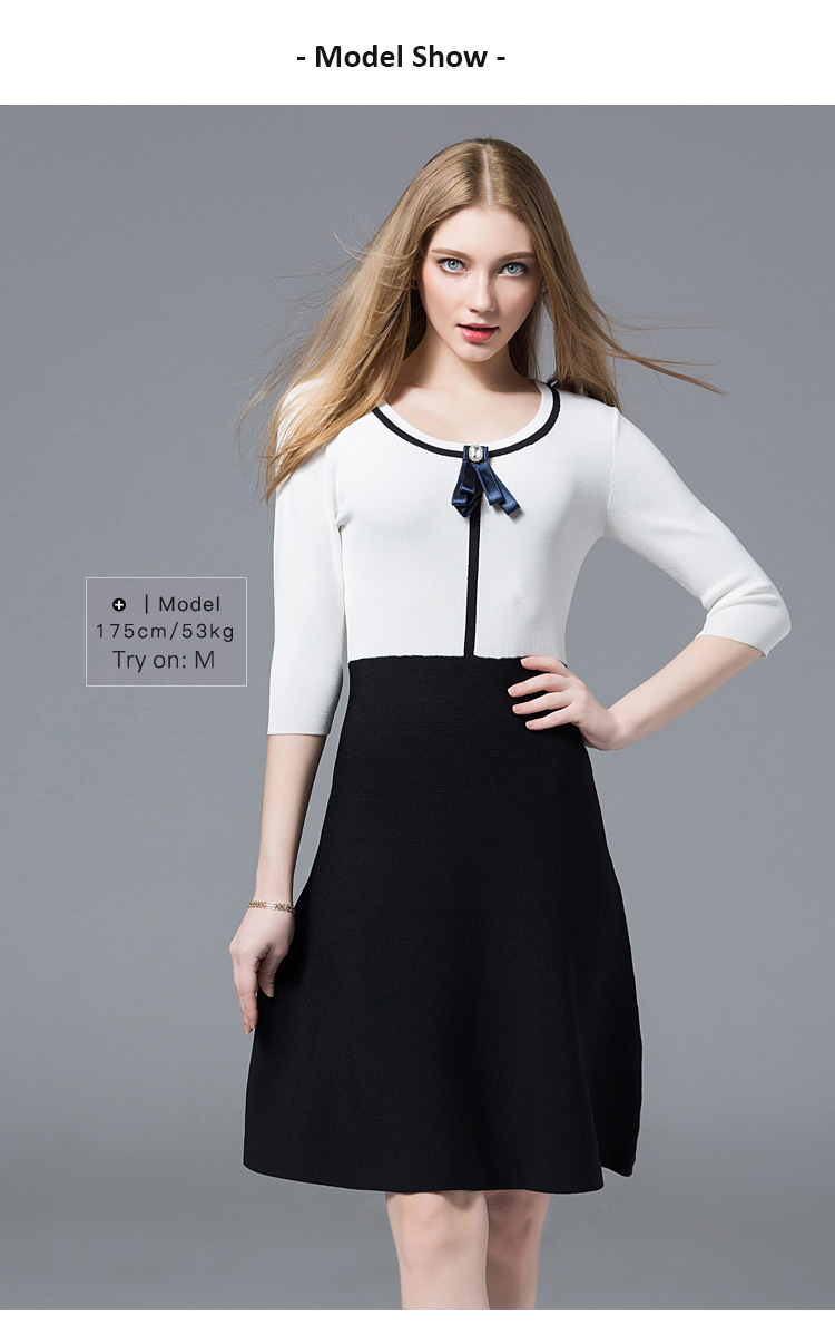 4f8c0bce1b4 SFFZ Women Knitted Dress O-Neck Long A-Line Sweater Dress Elegance White  Black Patchwork Youth Female Comfortable Soft Dresses. 7 -2-1 15 13 8 9 10  11 12 15 ...