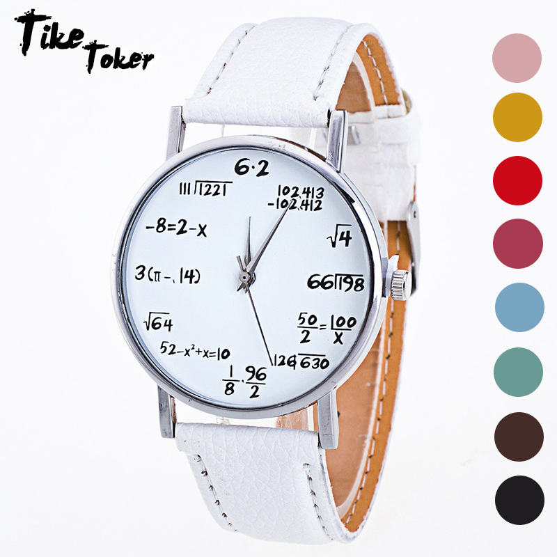 TIke Toker,Fashion Design Women Watches Mathematical formula Pattern PU Leather Band Analog Alloy Quartz Wrist Watch Relogio 07 creative star pattern zinc alloy case pu band quartz analog wrist watch for women green brown